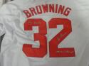 Tom Browning Cincinnati Reds Signed Replica  Home Jersey COA 2 Inscriptions