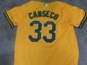 Jose Canseco Oakland A's Signed Replica Throwback Rookie Jersey JSA Inscription