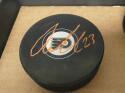 Oskar Lindblom Philadelphia Flyers signed Logo Puck COA orange