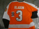 Tom Bladon Philadelphia Flyers Signed Orange Throwback Replica Jersey JSA inscription